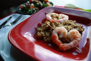 Heart-Shape Skewered Shrimp over Sun-Dried Tomato Quinoa