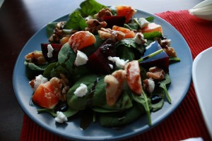 Roasted Beet, Orange and Walnut Salad with Goat Cheese and Balsamic Drizzle