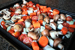 Veggies in roasting pan