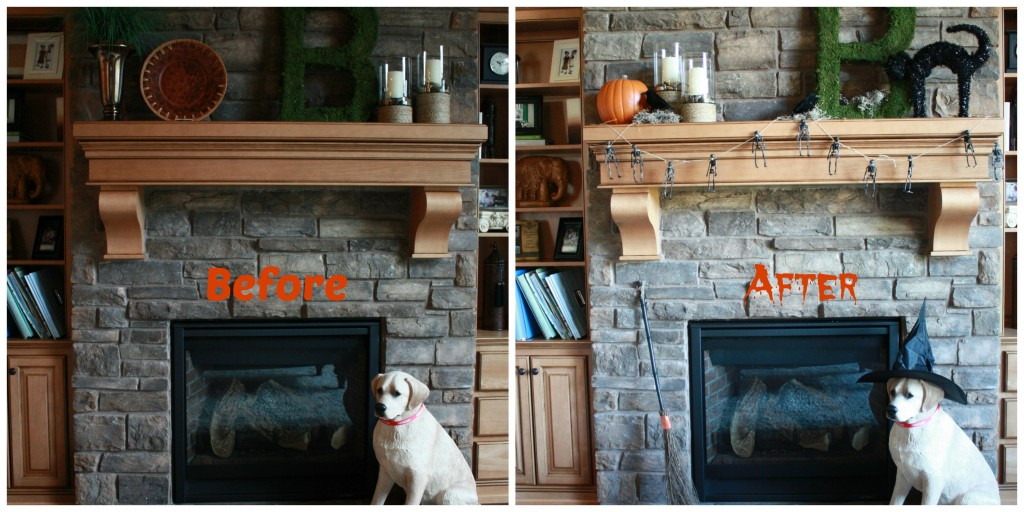 Halloween Mantel Before and After