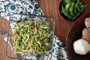 Broccoli Slaw with Edamame and Ginger Dressing