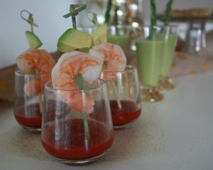 Individual shrimp cocktail with asparagus cups