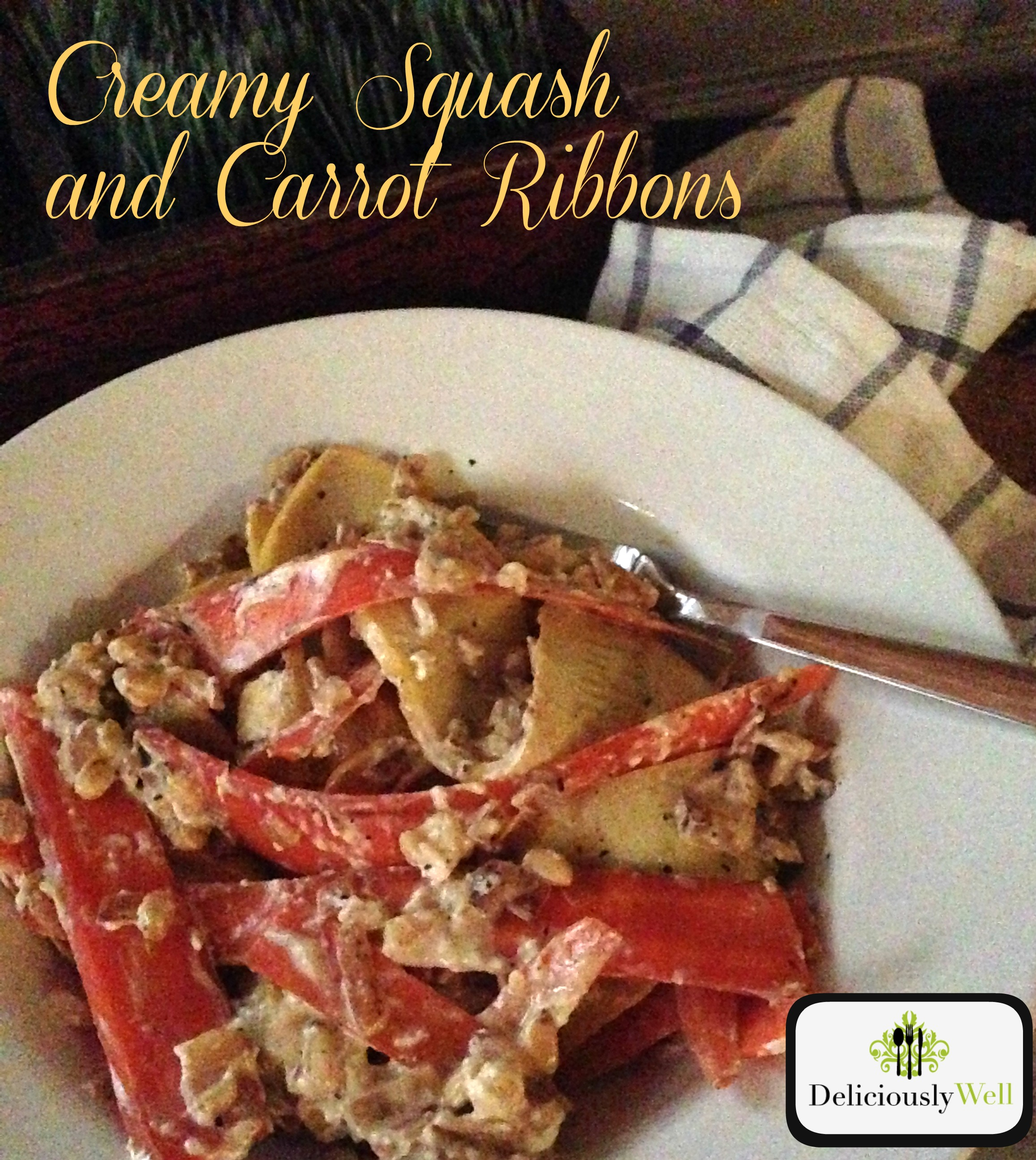 Creamy Squash and Carrot Ribbons